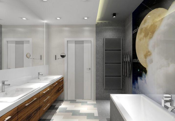 Projekt łazienki - szkło z nadrukiem zamiast płytek
