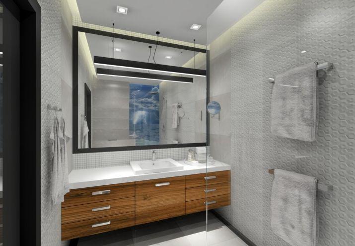 Projekt łazienki z dużym lustrem