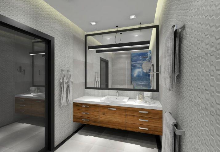 Projekt łazienki z kamiennym blatem