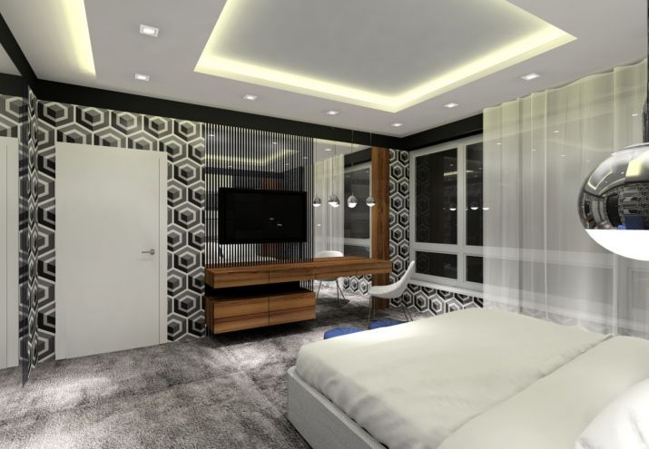 Projekt sypialni z sufitem podwieszanym