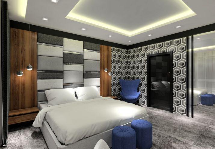 Projekt sypialni z szarą wykładziną