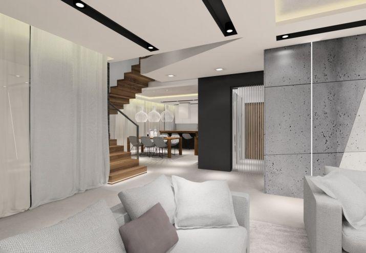 Projekt wnętrz domu - płytki na podłodze