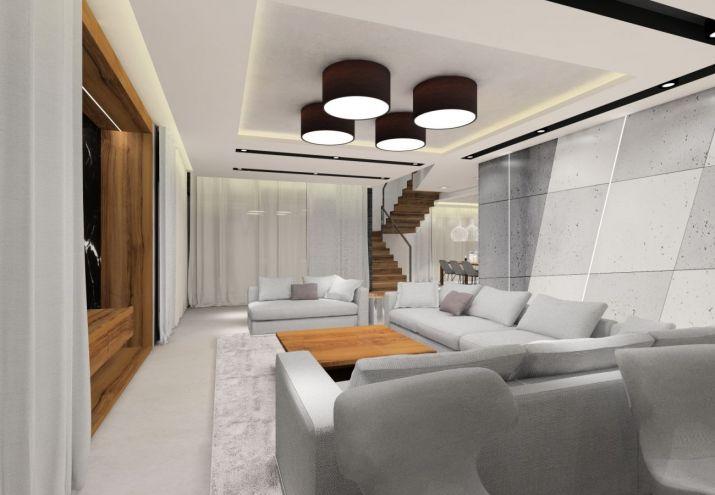 Projekt wnętrz salonu ze ścianą z betonu