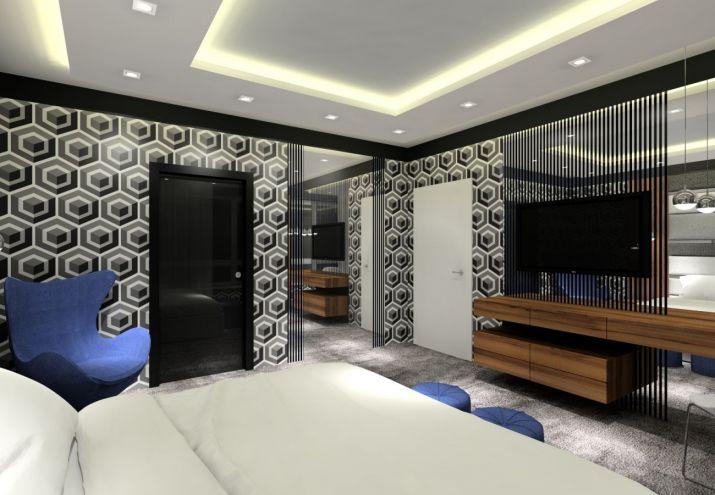 Projekt wnętrz sypialni z sufitem podwieszanym