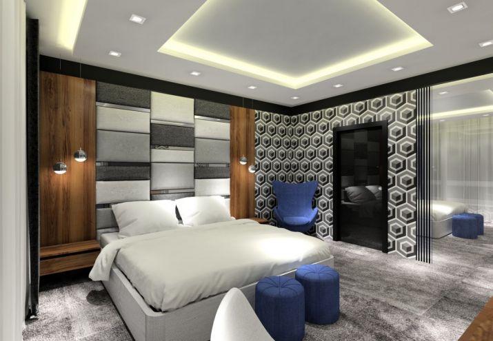Projekt wnętrz - sypialnia z tapetą w geometryczny wzór