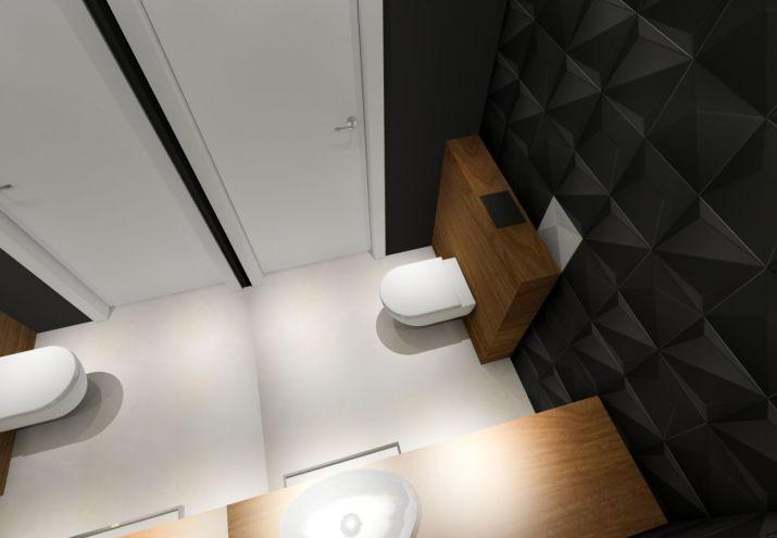 Projektowanie wnętrz WC z czarnymi płytkami