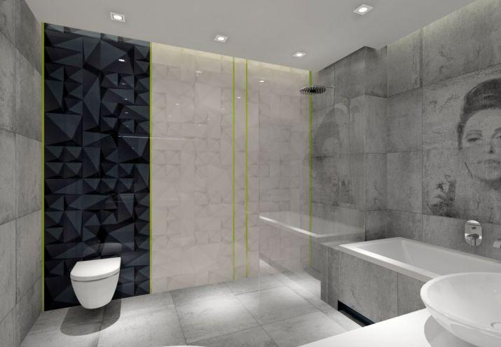 Projekt łazienki z czarnymi plytkami