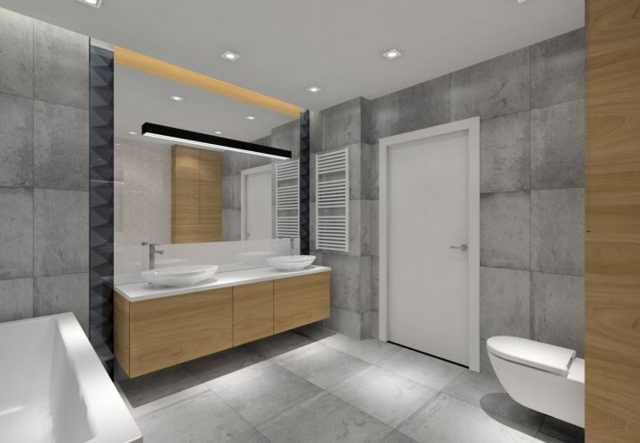 projekt łazienki z płytkami Tubądzin Zień