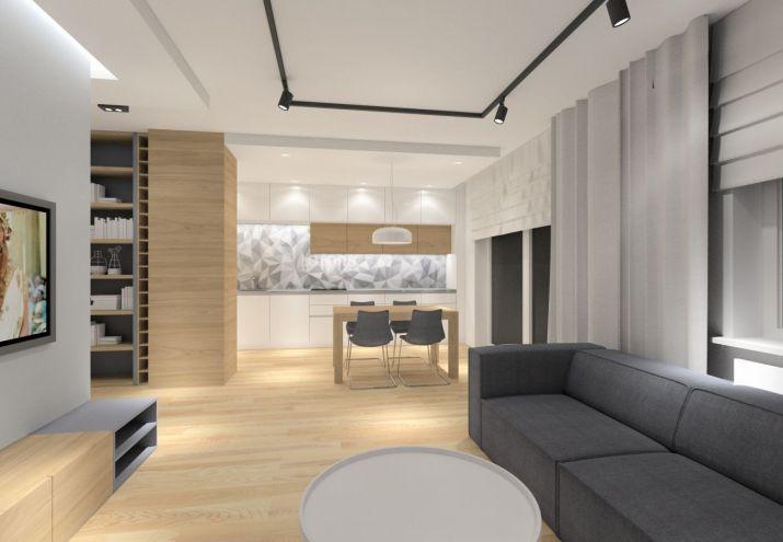 Projekt salonu z sufitem podwieszanym