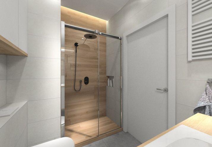 Projekt łazienki z dużym prysznicem.