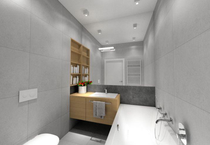 Projekt małej łazienki z wanną.